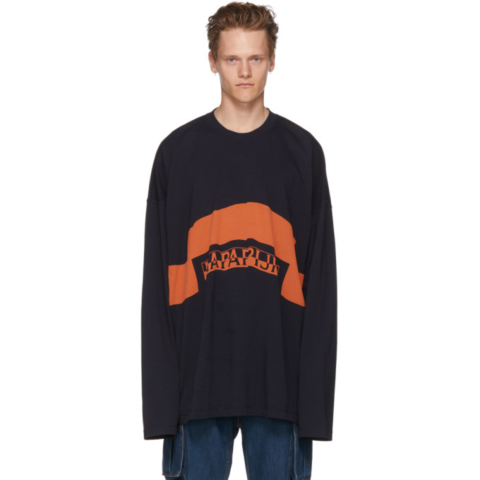 NAPA BY MARTINE ROSE NAVY AND ORANGE LONG SLEEVE SIRI T-SHIRT