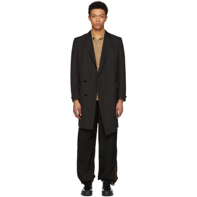 Image of N.Hoolywood Black Wool Coat