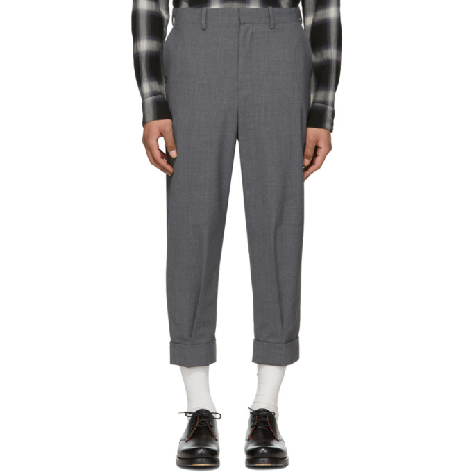 Image of N.Hoolywood Grey Cropped Pleated Trousers