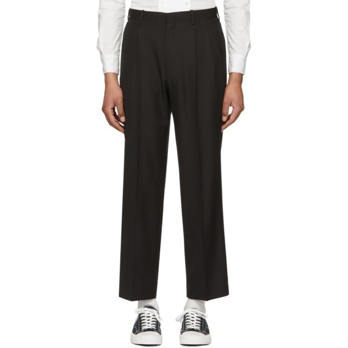 Image of N.Hoolywood Black Pleated Trousers