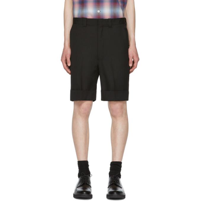 Image of N.Hoolywood Black Wool Shorts