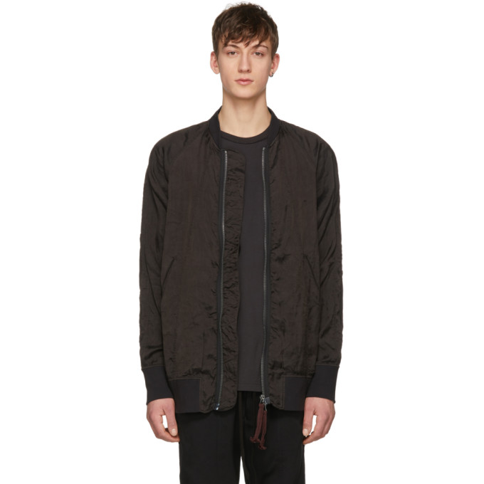 Image of Ziggy Chen Black Deep Cuff Bomber Jacket