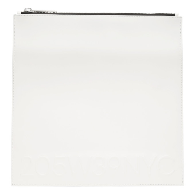 Image of Calvin Klein 205W39NYC White Large Simple Logo Pouch