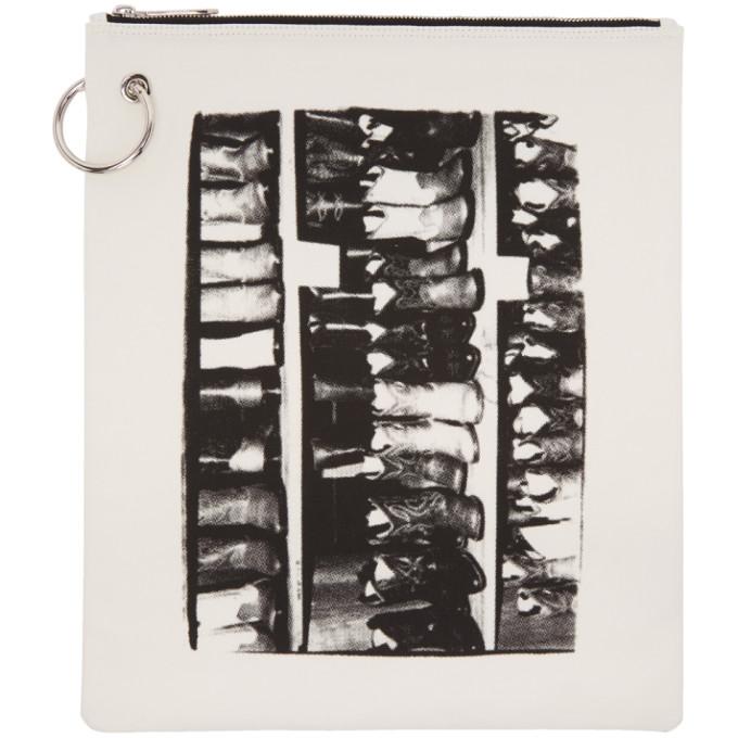 Calvin Klein 205W39NYC White Canvas Boot Print Pouch