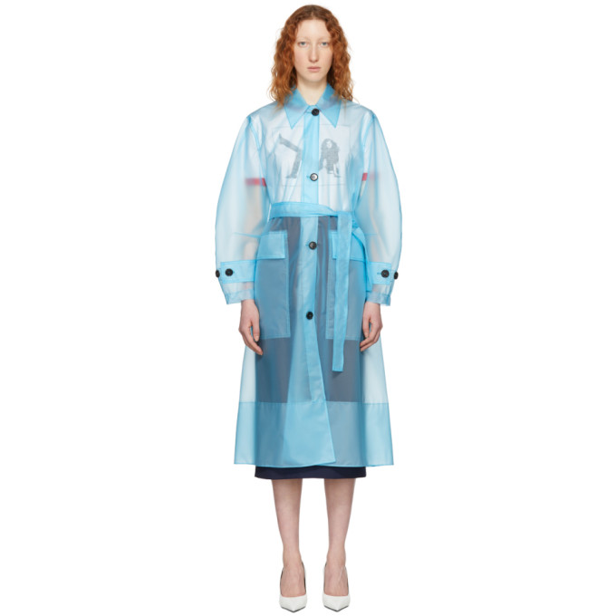 Calvin Klein 205W39NYC Blue Long Plastic Coat