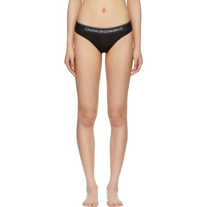 Calvin Klein 205W39NYC Black Cotton Logo Collection Thong