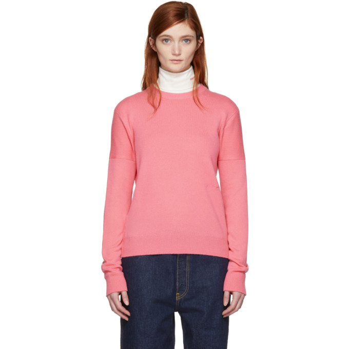 Image of Calvin Klein 205W39NYC Pink Cashmere Small Logo Sweater