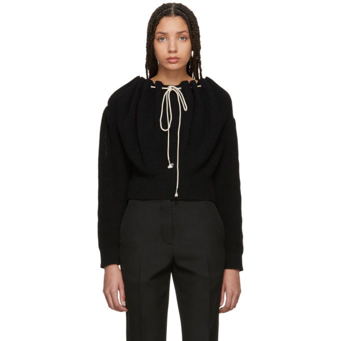 Image of Calvin Klein 205W39NYC Black Cropped Drawstring Sweater