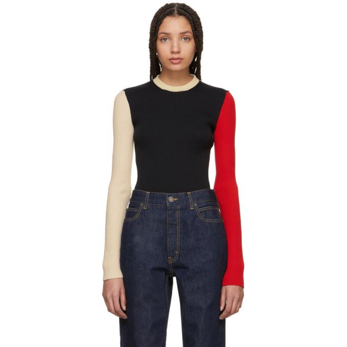 Image of Calvin Klein 205W39NYC Black & Ecru Colorblock Sweater