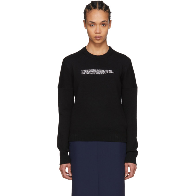 Image of Calvin Klein 205W39NYC Black Cashmere Logo Sweater