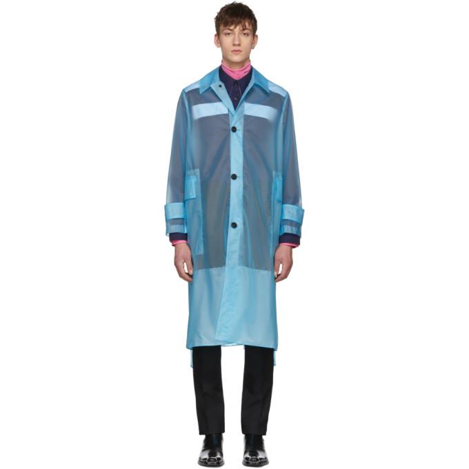 Calvin Klein 205W39NYC ブルー ロング プラスティック コート