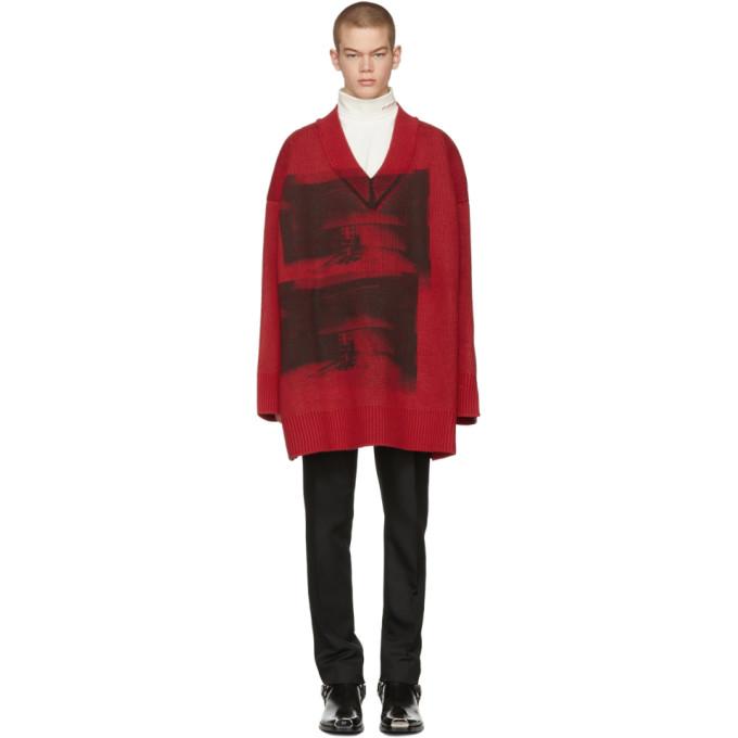 Calvin Klein 205W39NYC Red & Black Oversized V-Neck Sweater