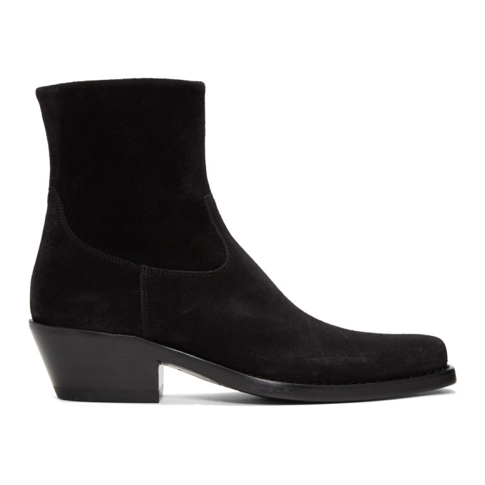 Image of Calvin Klein 205W39NYC Black Suede Western Tod Boots