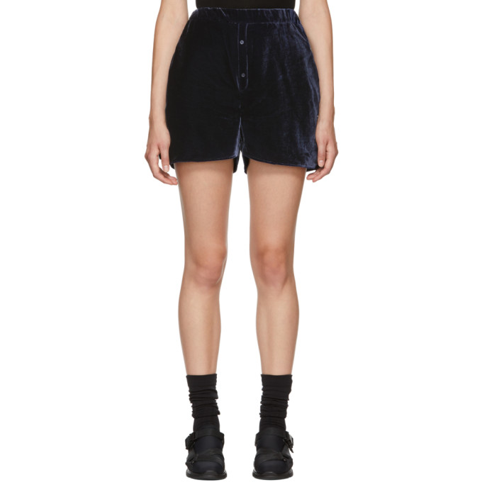 Image of Cecilie Bahnsen SSENSE Exclusive Navy Velvet Nivi Shorts