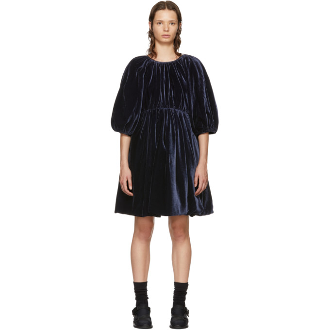 Image of Cecilie Bahnsen SSENSE Exclusive Navy Velvet Ava Dress