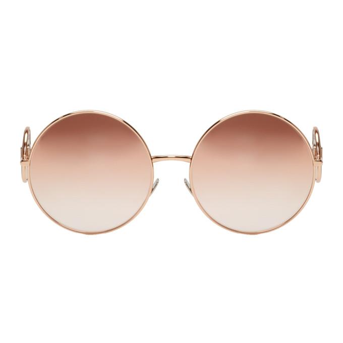 Dolce & Gabbana Pink Round Metal Logo Sunglasses