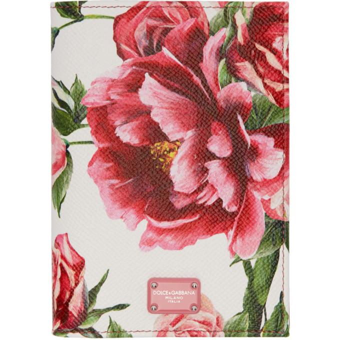 Dolce & Gabbana Pink Peonies Logo Passport Holder