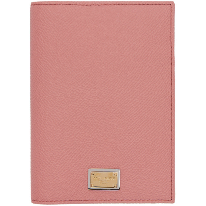 Dolce & Gabbana Pink Logo Plate Passport Holder