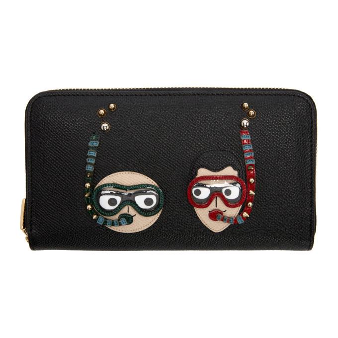 Dolce & Gabbana Black Scuba Family Zip Around Wallet