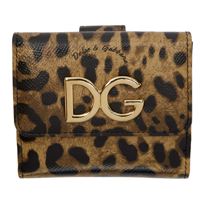 Image of Dolce & Gabbana Black & Brown Leopard French Wallet