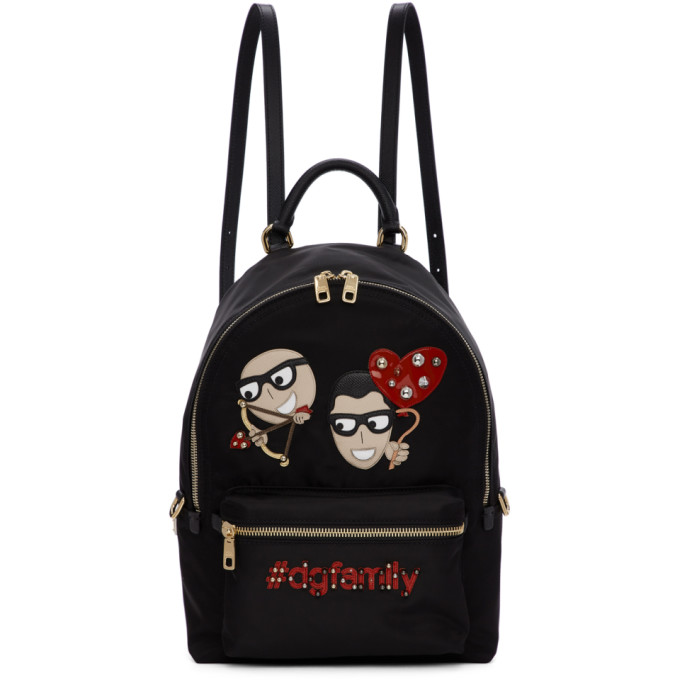 Dolce And Gabbana Black Cupid Designers Dgfamily Vulcano Backpack, 80999 Black
