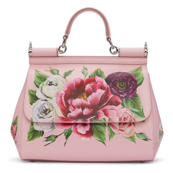 Dolce & Gabbana Pink Medium Peonies Miss Sicily Bag