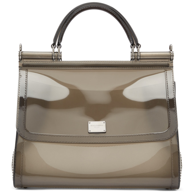 56b909d3f04 Dolce and Gabbana Grey Small Rubber Miss Sicily Bag