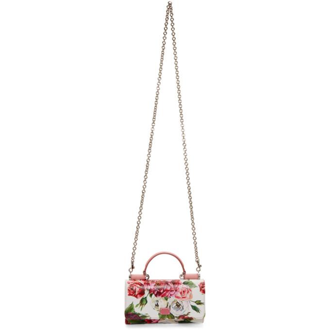 Dolce & Gabbana Pink Peonies Top Handle Wallet Chain Bag