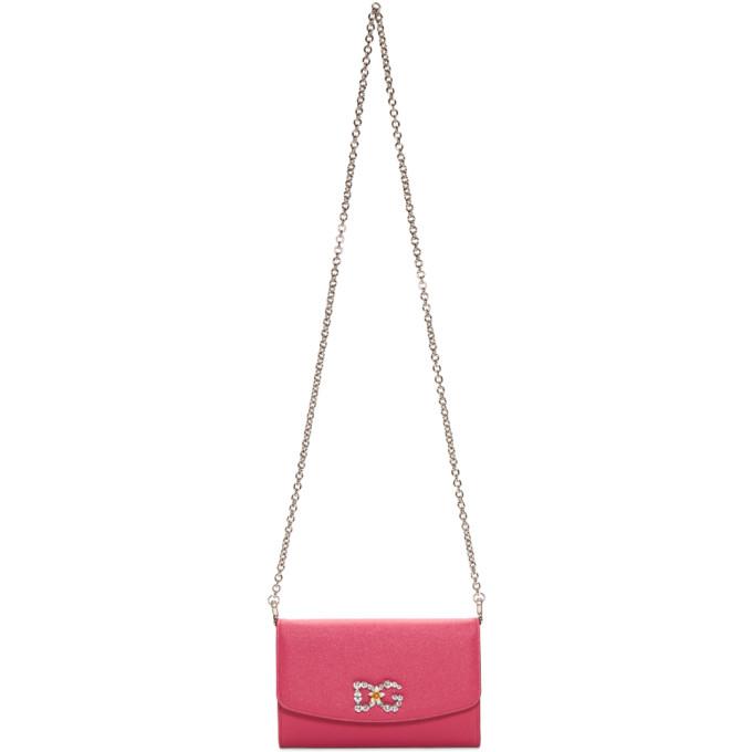 Dolce & Gabbana Pink Crystal Logo Wallet Chain Bag