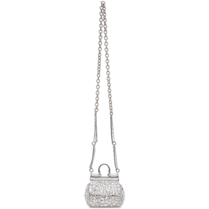 c72d31a66ac2 Dolce and Gabbana Silver Satin Crystal Micro Sicily Bag