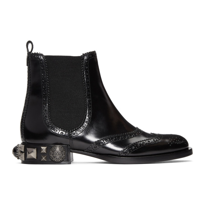 Dolce & Gabbana Black Nappa Brogue Boots