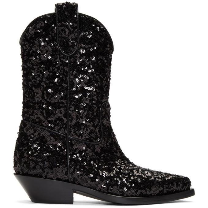 Dolce & Gabbana Black Sequin Cowboy Boots
