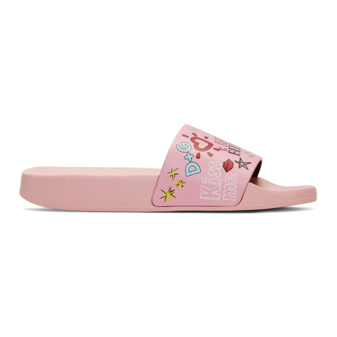 Dolce & Gabbana Pink Millennials Pool Slides