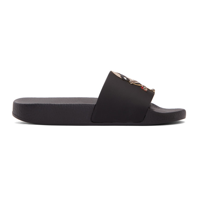 Dolce & Gabbana Black Family Patch Pool Slides