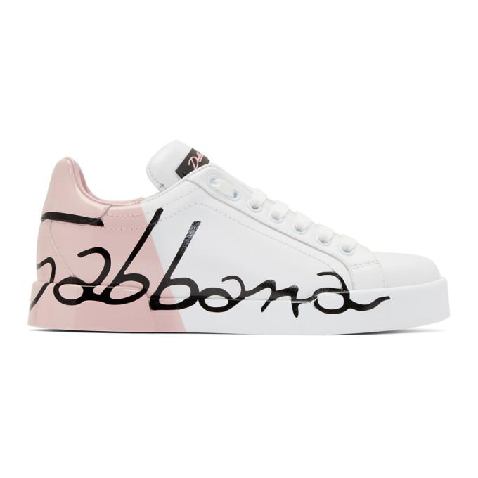Dolce & Gabbana White & Pink Writing Sneakers