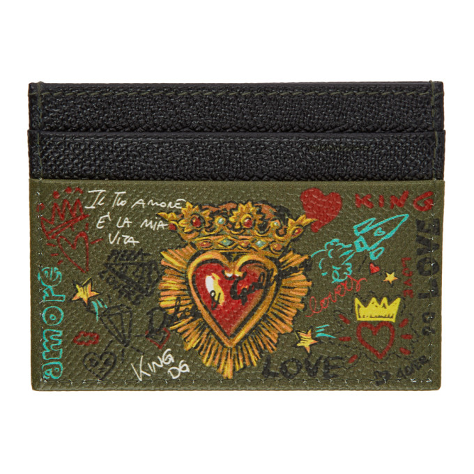 Image of Dolce & Gabbana Black & Brown Sacré Coeur Card Holder