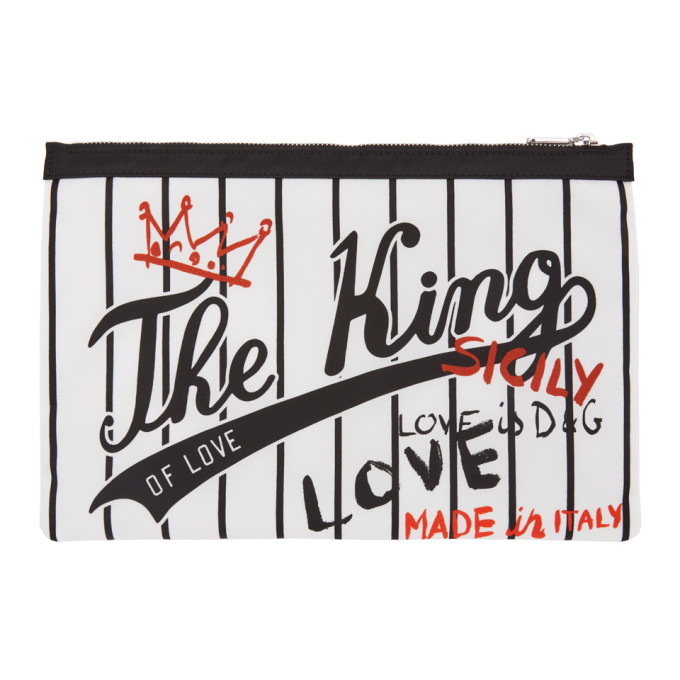 DOLCE AND GABBANA WHITE AND BLACK THE KING POUCH
