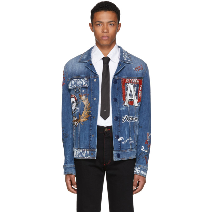 Dolce & Gabbana ブルー デニム ドローイング ジャケット