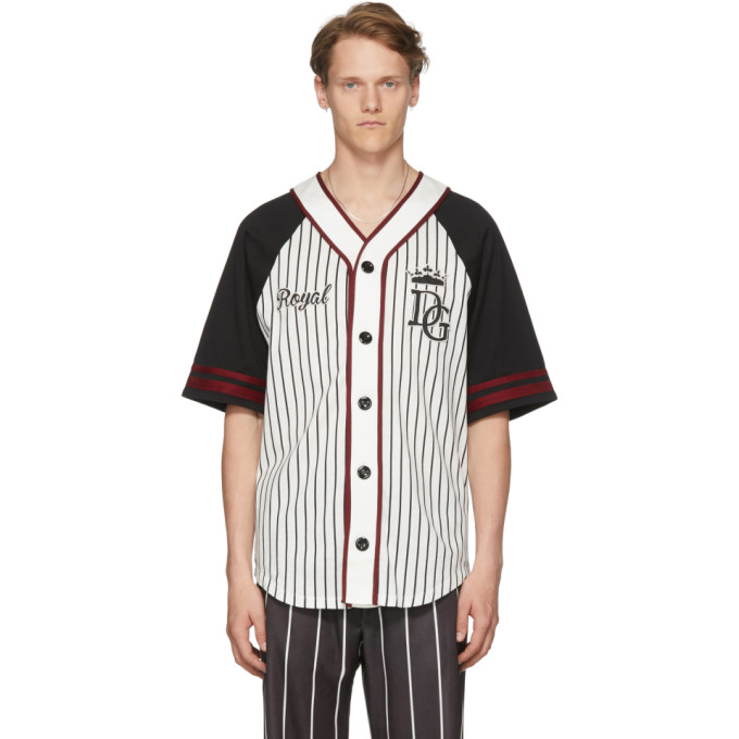 DOLCE AND GABBANA BLACK AND WHITE STRIPED BASEBALL SHIRT