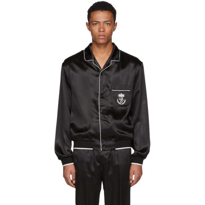 Dolce & Gabbana ブラック シルク パジャマ シャツ