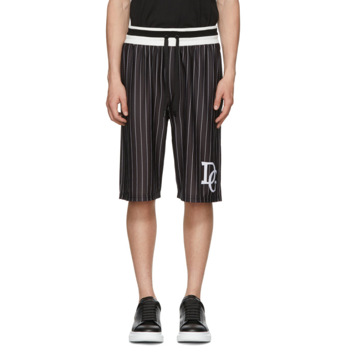 950d8ffc1b9c Dolce and Gabbana Black and White Striped DG Basketball Shorts