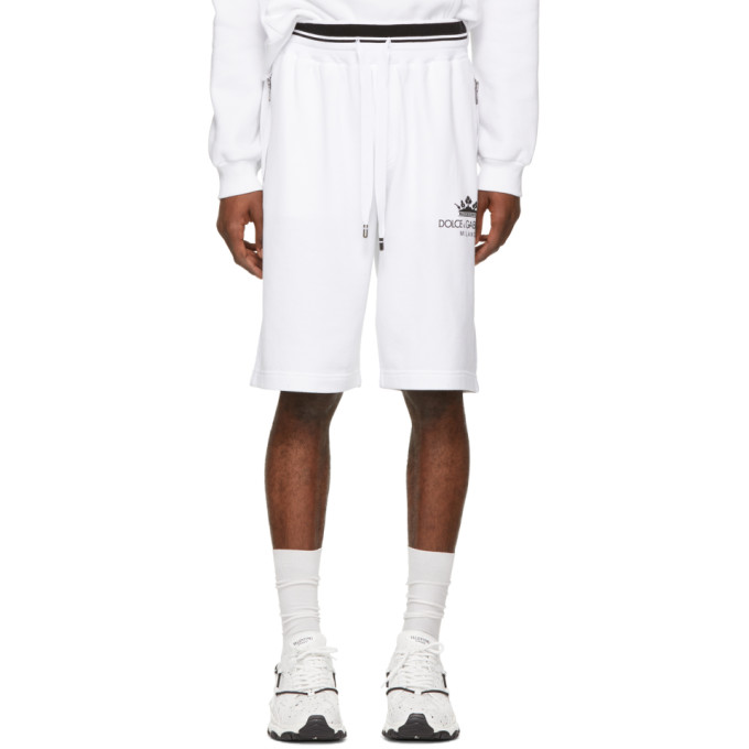 ec25133d192c Dolce and Gabbana White Crown Basketball Shorts