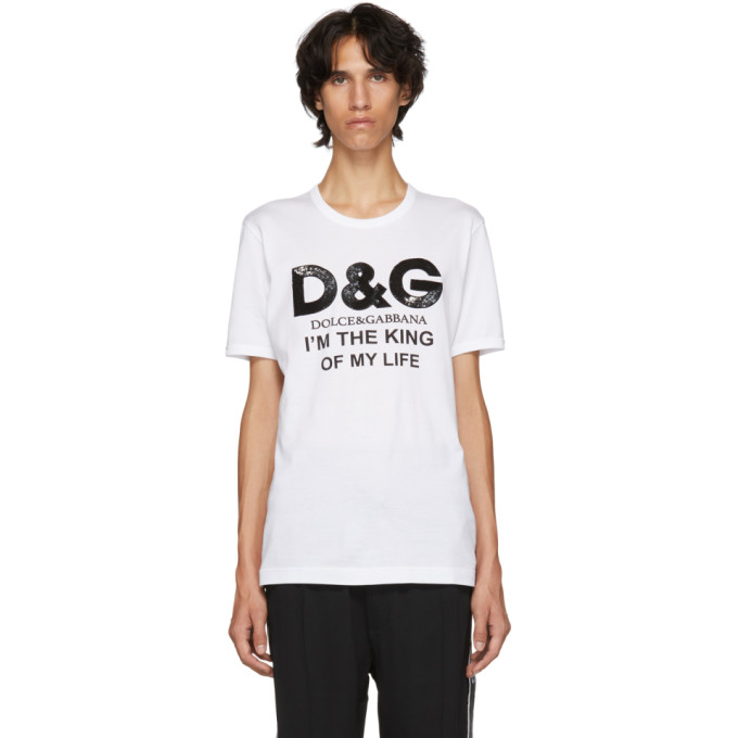 DOLCE & GABBANA Dolce And Gabbana White King Of My Life T-Shirt