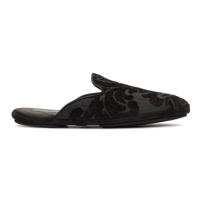Dolce & Gabbana Black Floral Embroidered Loafers