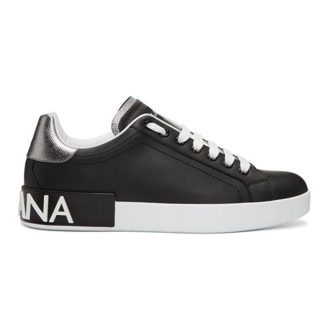 Dolce & Gabbana Black & Silver Portofino Logo Sneakers