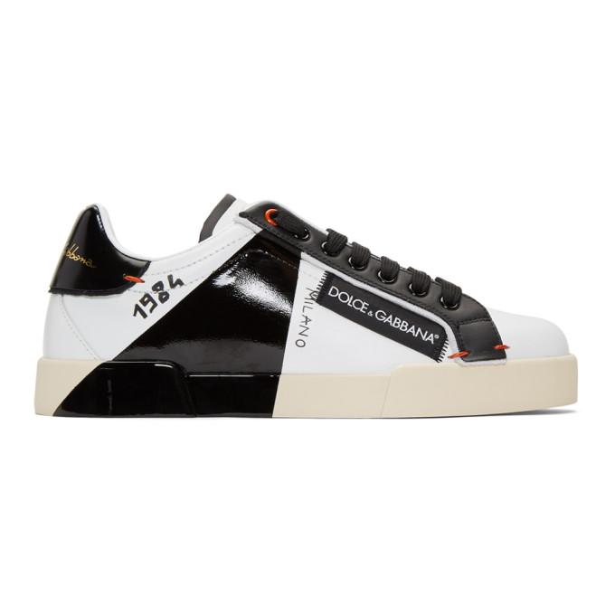 Dolce & Gabbana DOLCE AND GABBANA BLACK AND WHITE 1984 PORTOFINO SNEAKERS