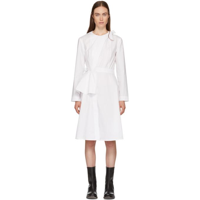 ROBERTS WOOD Roberts | Wood White Peplum Armour Wrap Dress