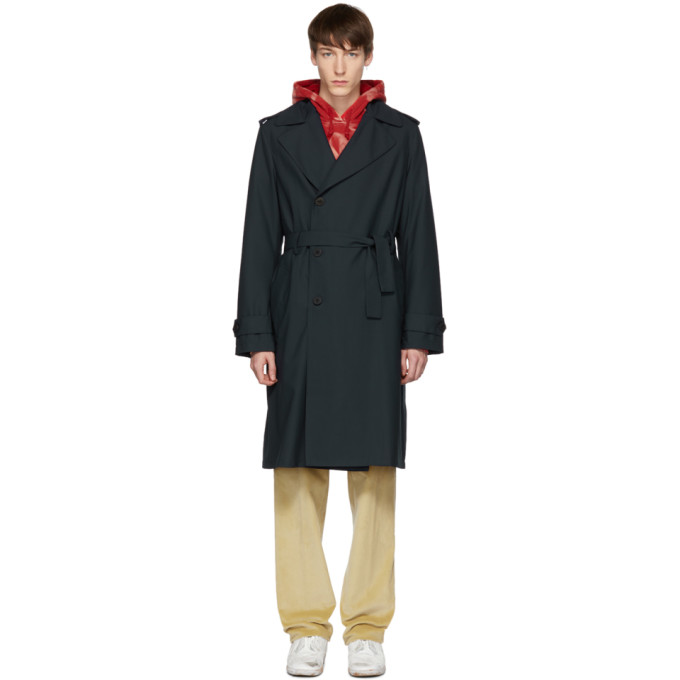 Image of 424 Navy Wool Suited Trench Coat