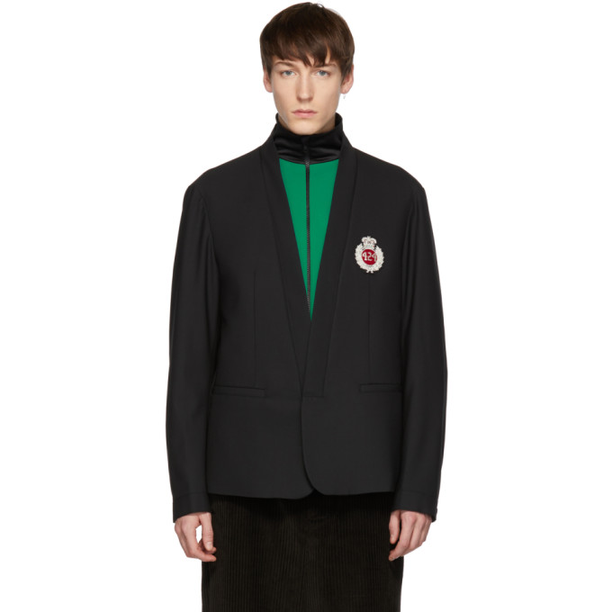 424 Black Chest Logo Blazer
