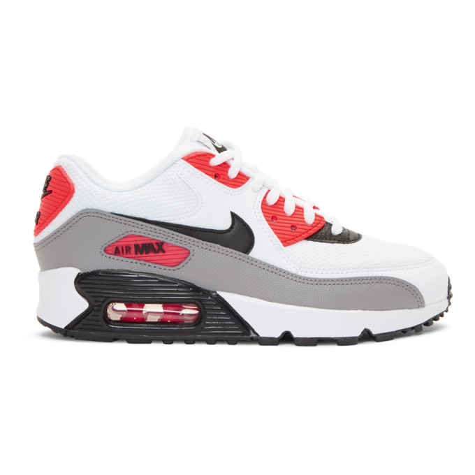 Nike White & Red Air Max 90 Sneakers
